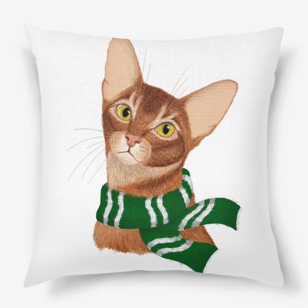 Подушка «Котики Хогвартса. Слизерин.»