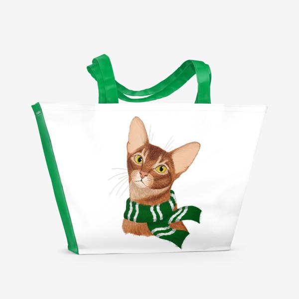 Пляжная сумка «Котики Хогвартса. Слизерин.»