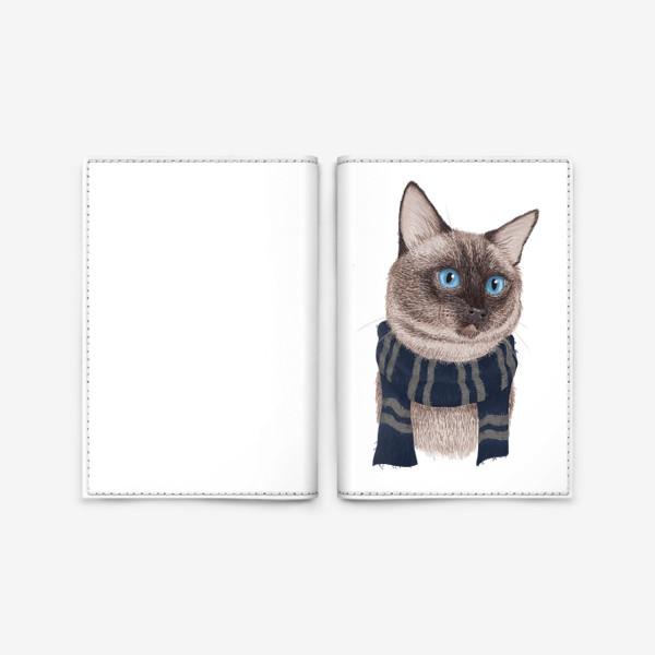 Обложка для паспорта «Котики Хогвартса. Когтевран.»