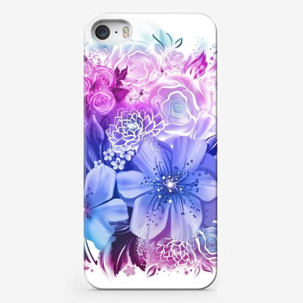 Чехол iPhone «Голубой букет с розами и ромашками»