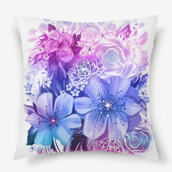 Подушка «Голубой букет с розами и ромашками»