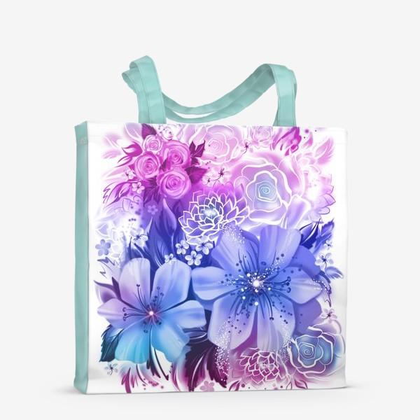 Сумка-шоппер «Голубой букет с розами и ромашками»