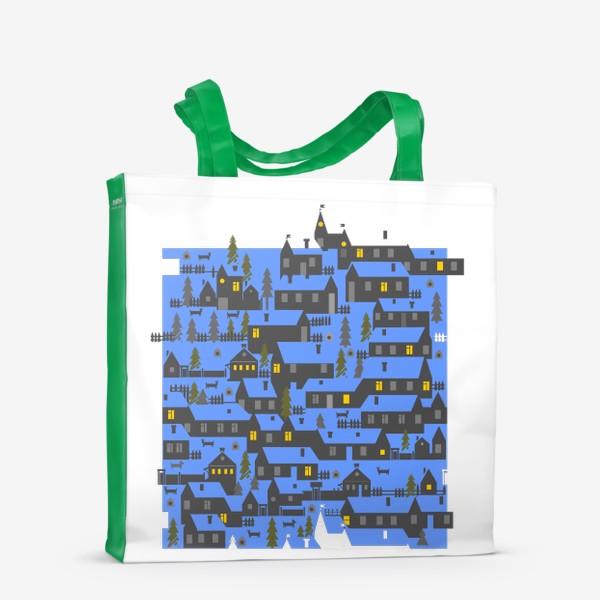 Сумка-шоппер «Зимняя деревенька в синем»