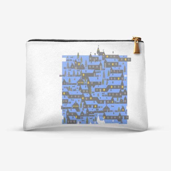 Косметичка «Зимняя деревенька в синем»