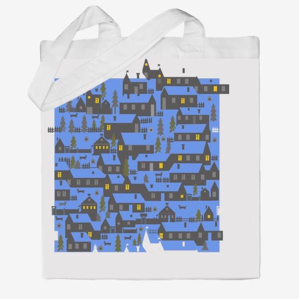 Сумка хб «Зимняя деревенька в синем»