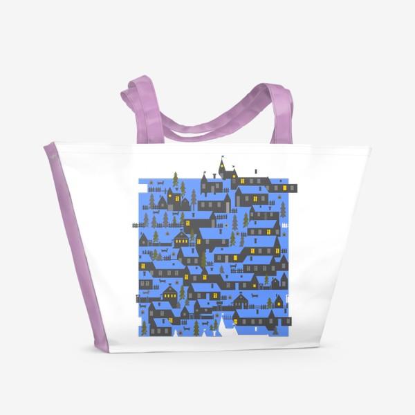Пляжная сумка «Зимняя деревенька в синем»
