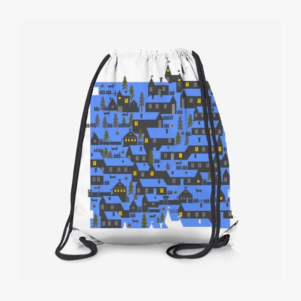 Рюкзак «Зимняя деревенька в синем»