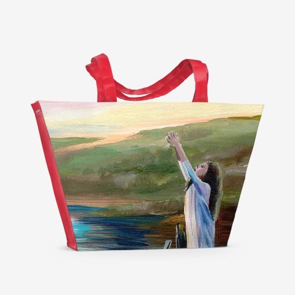 Пляжная сумка «Девочка на мосту»