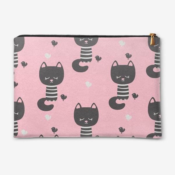 Косметичка «Бесшовный паттерн в минималистичном стиле с черными котами»