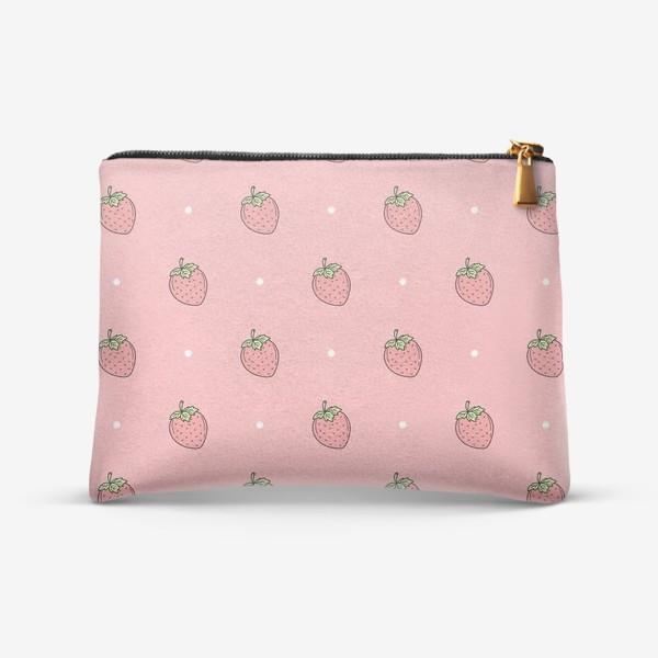 Косметичка «Клубничный минималистичный узор на розовом»