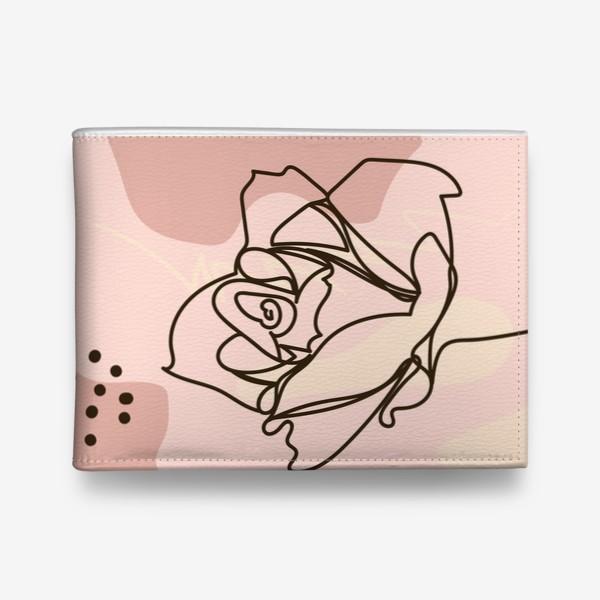 Кошелек «Бутон розы. Минималистичный дизайн непрерывной линией»