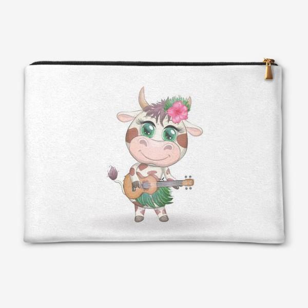 Косметичка «Корова танцовщица хула с гавайской гитарой, Гавайи»