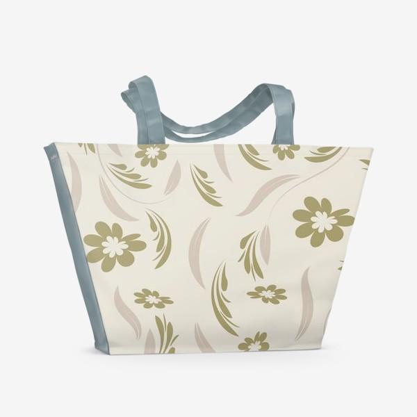 Пляжная сумка «Folk flowers pattern Floral surface design Seamless pattern»