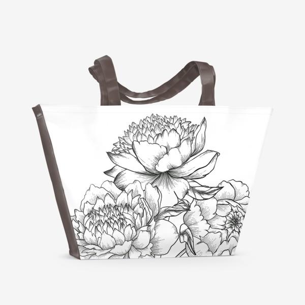 Пляжная сумка «Бабушкины пионы»