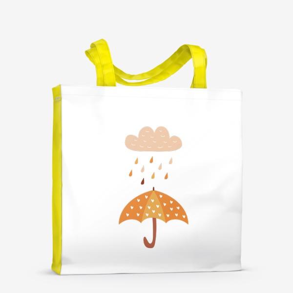 Сумка-шоппер «Зонтик с сердечками и дождь - Осенний уютный принт»