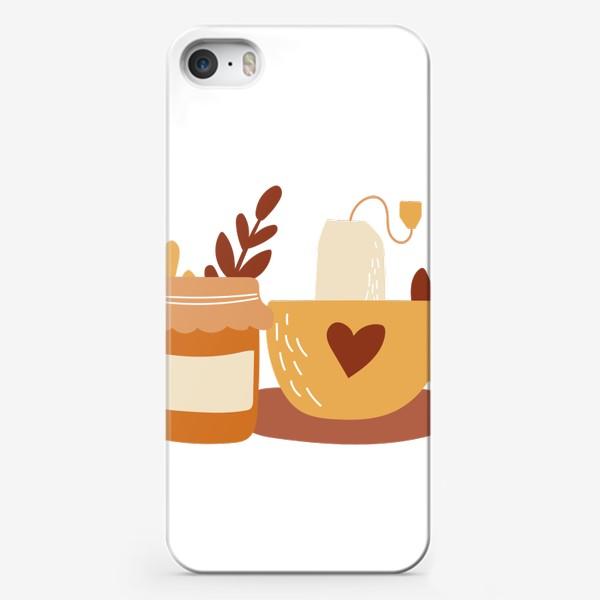 Чехол iPhone «Чай с вареньем. Осенний принт. Банка варенья, чашка и пакетик чая»