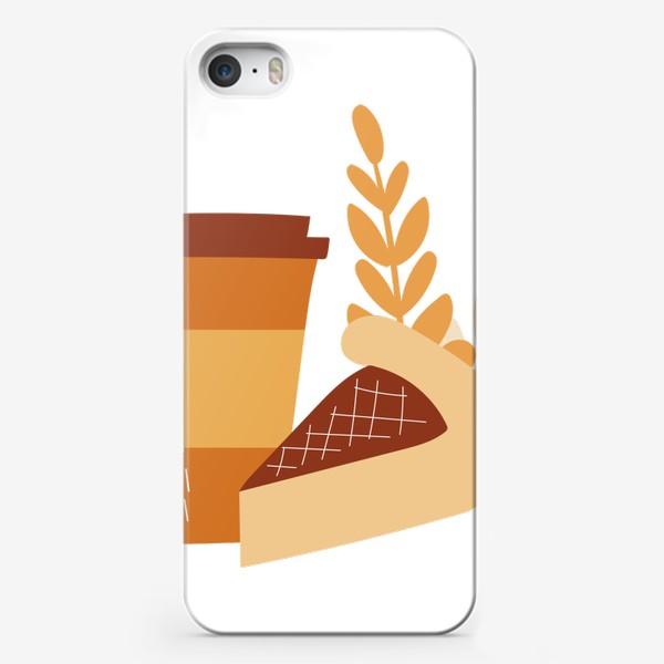 Чехол iPhone «Пирог и кофе. Осенний принт. Черничный пирог и кофе с собой»