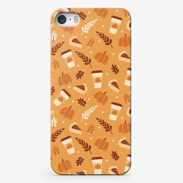 Чехол iPhone «Тыквенный латте и пирог - Тыква и кофе - узор на оранжевом фоне»