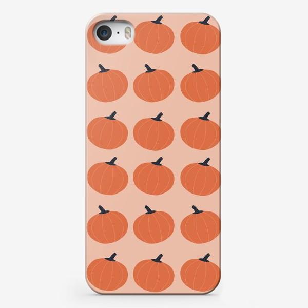 Чехол iPhone «Оранжевые тыквы осенний паттерн»