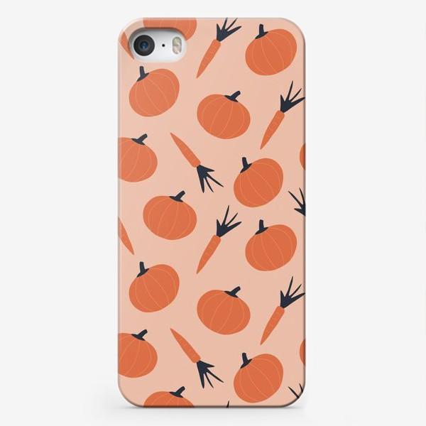 Чехол iPhone «Тыква и морковка осенний паттерн»