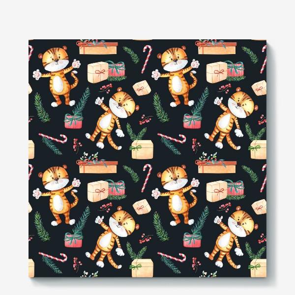Холст «Новогодние тигрята с подарками на темном»