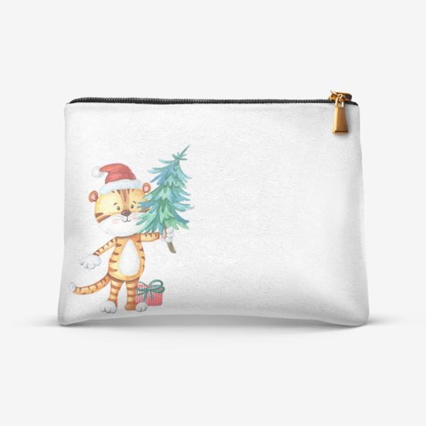 Косметичка «Тигренок с елкой и подарком. Символ нового года.»