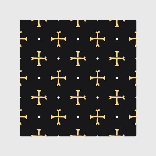 Шторы «Кости в виде креста на черном фоне. Узор на Хеллоуин»