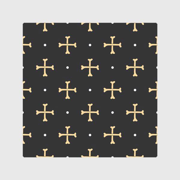 Скатерть «Кости в виде креста на черном фоне. Узор на Хеллоуин»