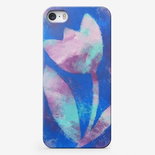 Чехол iPhone «Тюльпан. Синий. Живопись»
