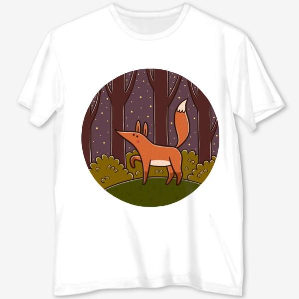 Футболка с полной запечаткой «Милая лиса в ночном лесу»