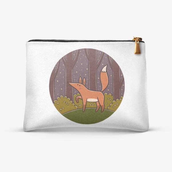 Косметичка «Милая лиса в ночном лесу»