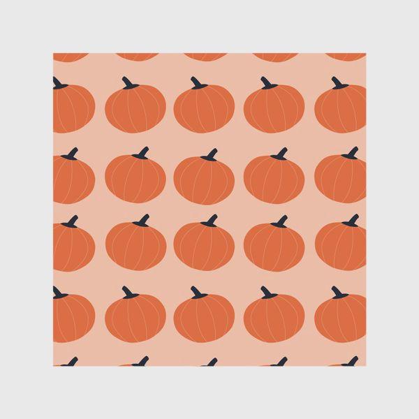Шторы «Оранжевые тыквы осенний паттерн»