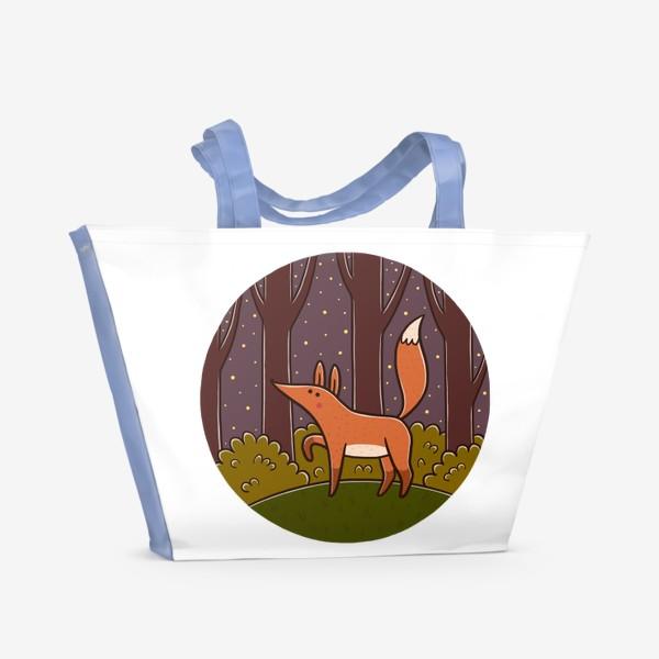Пляжная сумка «Милая лиса в ночном лесу»
