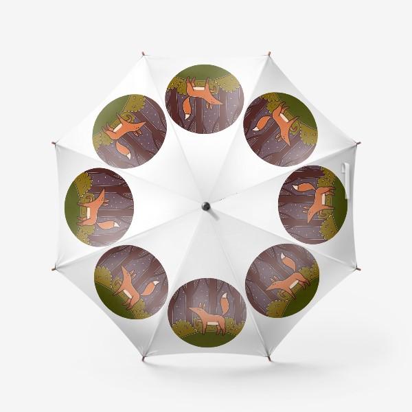 Зонт «Милая лиса в ночном лесу»