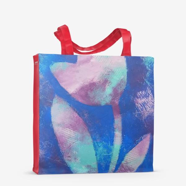 Сумка-шоппер «Тюльпан. Синий. Живопись»