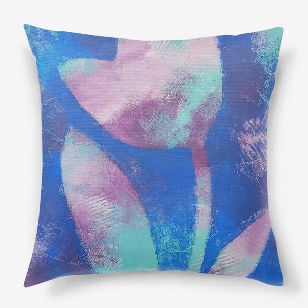 Подушка «Тюльпан. Синий. Живопись»