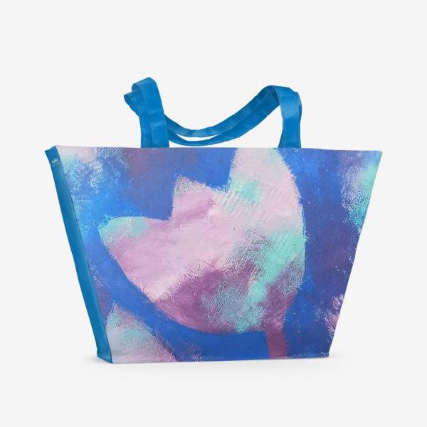 Пляжная сумка «Тюльпан. Синий. Живопись»