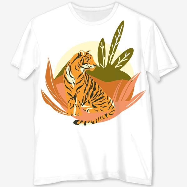 Футболка с полной запечаткой «Тигр в джунглях.»