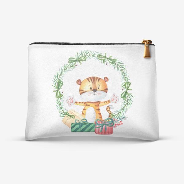 Косметичка «Новогодний венок с тигренком»