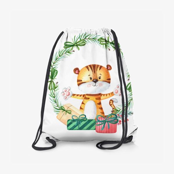 Рюкзак «Новогодний венок с тигренком»
