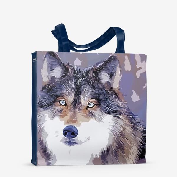 Сумка-шоппер «Яркий принт с волком»