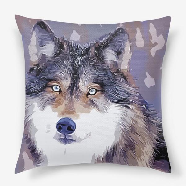 Подушка «Яркий принт с волком»