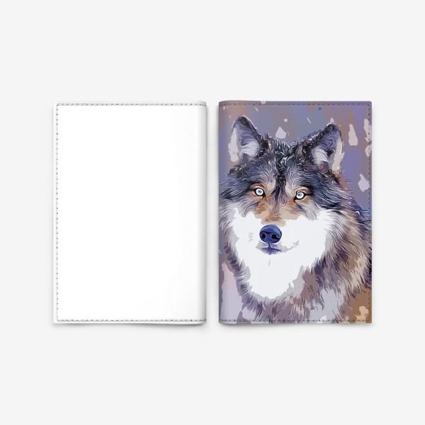 Обложка для паспорта «Яркий принт с волком»