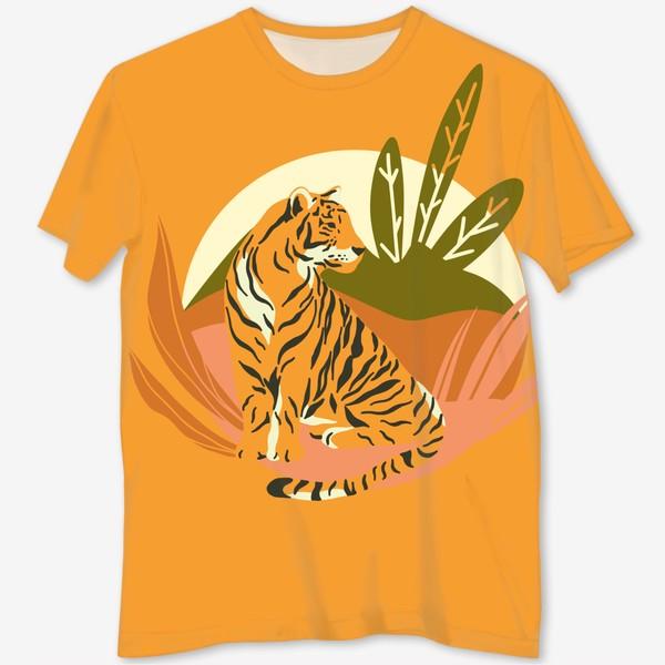 Футболка с полной запечаткой «Тигр в джунглях. Яркий фон»