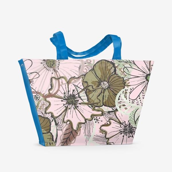 Пляжная сумка «Цветы паттерн»