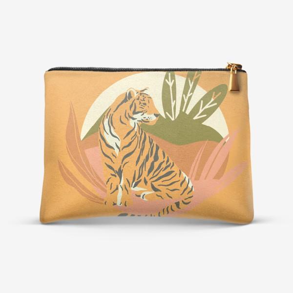 Косметичка «Тигр в джунглях. Яркий фон»