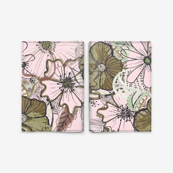 Обложка для паспорта «Цветы паттерн»
