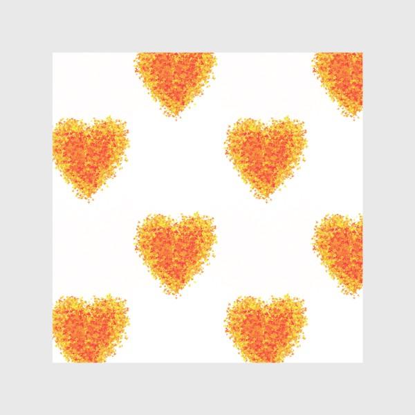 Шторы «Сердечки из осенних листьев паттерн»