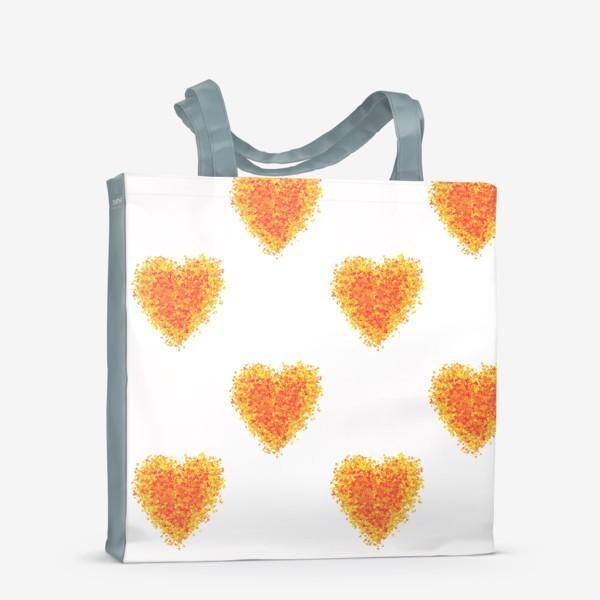 Сумка-шоппер «Сердечки из осенних листьев паттерн»