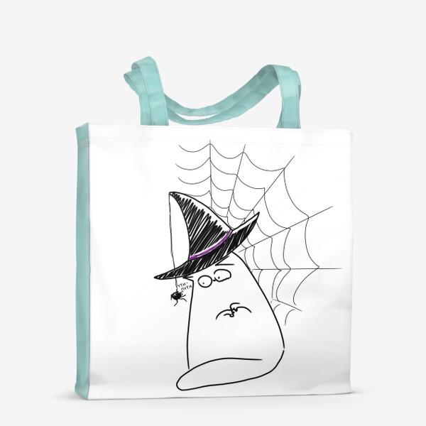 Сумка-шоппер «Хеллоуин, Halloween. Кот и паук. Ути-пути»